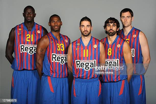 Boniface Ndong #21 Pete Mickeal #33 Juan Carlos Navarro #11 Victor Sada #8 and Erazem Lorbek #25 pose during the FC Barcelona Regal 2011/2012 Turkish...