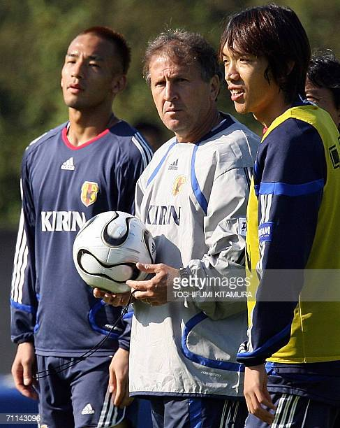 Japanese head coach Zico from Brazil watches his players with midfielder Hidetoshi Nakata and Shunsuke Nakamura during the morning training session...