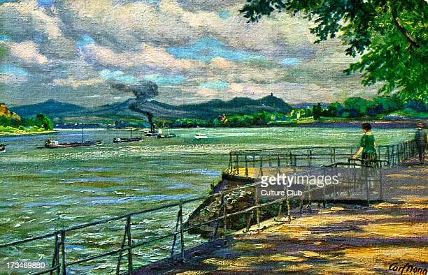 Bonn Germany view over the Rhine After painting by Karl Nonn