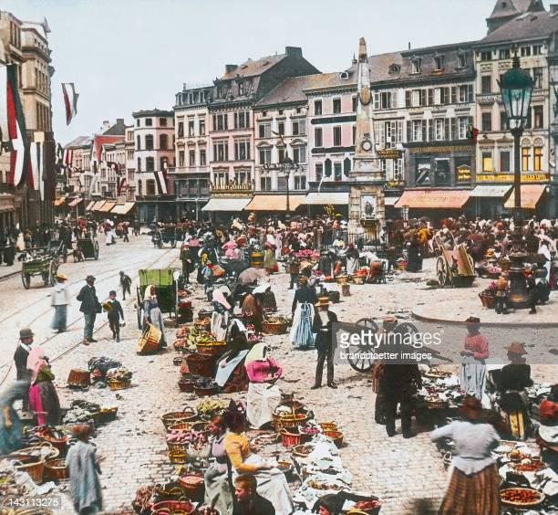 Bonn Market place Germany Handcolored lantern slide around 1905