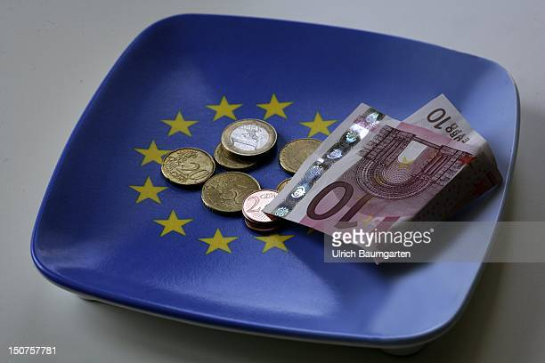 GERMANY Bonn Money tray with euro coins and 10 euro note