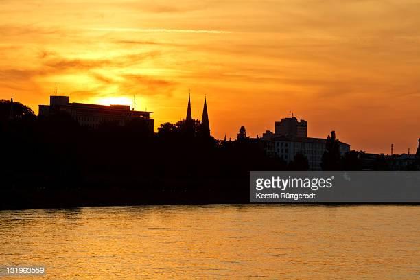 Bonn sunset at river Rhine