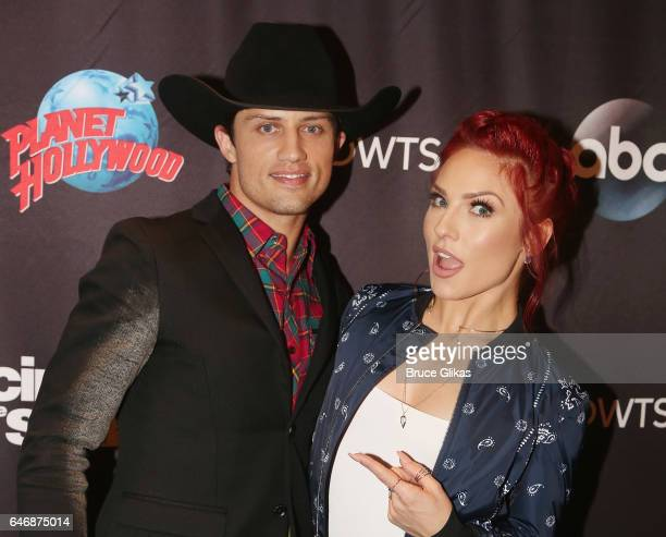 Bonner Bolton and Sharna Burgess pose at the 'DWTS Season 24 cast Announcement Press Junket' at Planet Hollywood Times Square on March 1 2017 in New...