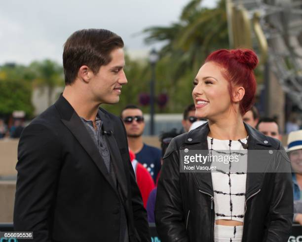 Bonner Bolton and Sharna Burgess visit 'Extra' at Universal Studios Hollywood on March 22 2017 in Universal City California