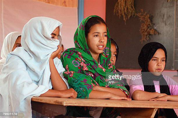 STORY 'Bonnet d'ne pour le Maroc en matire d'ducation' This file picture dated August 5 2006 shows young girls performing a play written by school...