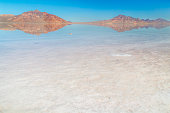 The Bonneville Salt Flats in Utah with beautiful reflection