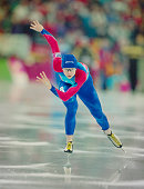 Bonnie Blair of the United States skates in the Women's 1500m speed skating competition on 21 February 1994 during the XVII Olympic Winter Games at...