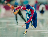 Bonnie Blair of the United States skates in the Women's 500m speed skating competition on 19 February 1994 during the XVII Olympic Winter Games at...