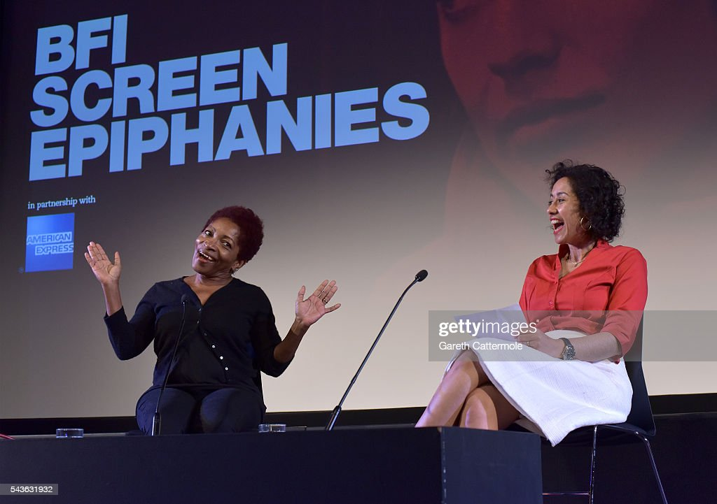Bonnie Greer (L) with host Samira Ahmed speaks on stage as she introduces 'The Lost Man' as part of BFI Screen Epiphanies in partnership with American Express at the BFI Southbank on June 29, 2016 in London, England.