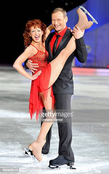 Bonnie Langford and Andrei Delcourt attend a photocall to launch the final tour of Torvill Dean's Dancing On Ice at Phones 4 U Arena on March 27 2014...