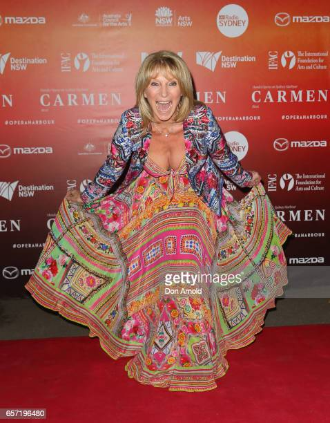 Bonnie Lythgoe arrives ahead of opening night of Handa Opera's production of Carmen at Sydney Harbour on March 24 2017 in Sydney Australia