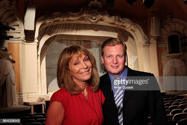Bonnie Lythgoe poses for a portrait with her son Kris Lythgoe in the Pasadena Playhouse in Pasaden Ca on December 3 2012 They have worked to bring...