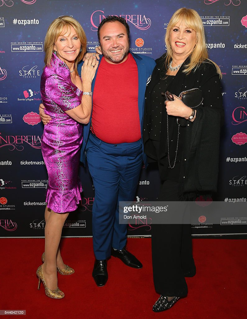 Bonnie Lythgoe, Trevor Ashley and Carlotta arrive ahead of opening night of Cinderella at State Theatre on July 1, 2016 in Sydney, Australia.