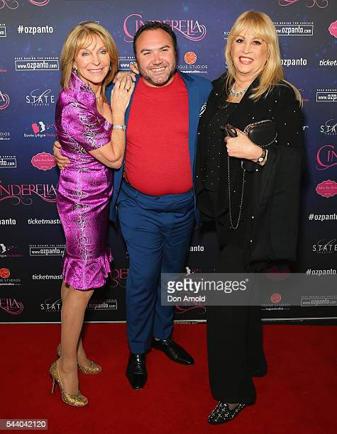Bonnie Lythgoe Trevor Ashley and Carlotta arrive ahead of opening night of Cinderella at State Theatre on July 1 2016 in Sydney Australia