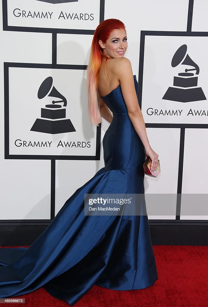Bonnie McKee arrives at the 56th Annual GRAMMY Awards at Staples Center on January 26, 2014 in Los Angeles, California.