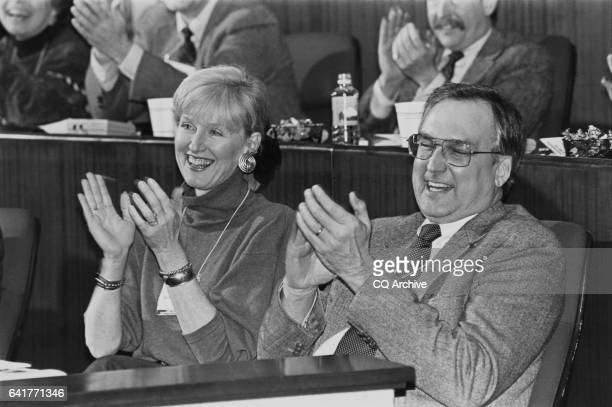 Bonnie Robichaux wife of Rep Bob Livingston R La sitting at a GOP conference in Princeton New Jersey Febuary 25 1992