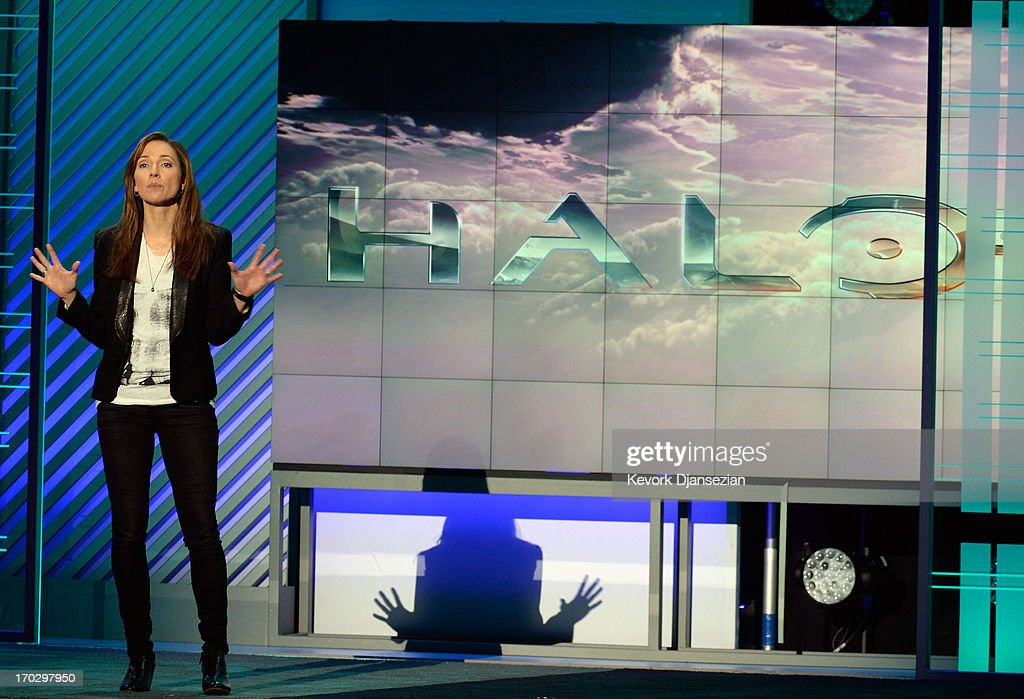Bonnie Ross, general manager and studio head of 343 Industries, introduces the Halo Xbox video game during Microsoft Xbox news conference at the Electronic Entertainment Expo at the Galen Center on June 10, 2013 in Los Angeles, California. Thousands are expected to attend the annual three-day convention to see the latest games and announcements from the gaming industry.