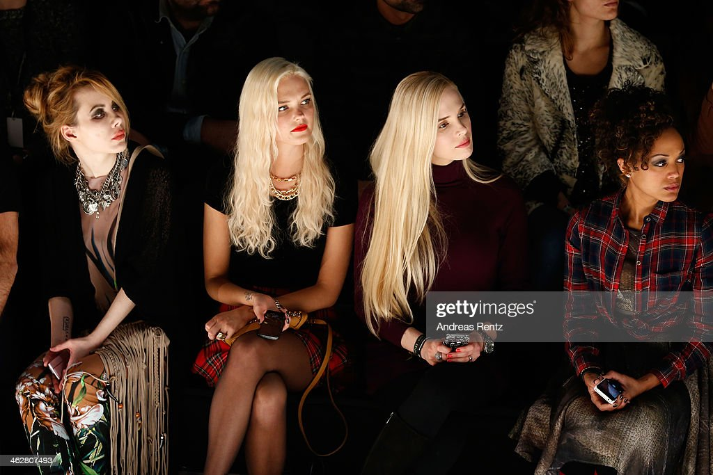 Bonnie Strange and Ariane Sommer attend the Marcel Ostertag show during Mercedes-Benz Fashion Week Autumn/Winter 2014/15 at Brandenburg Gate on January 15, 2014 in Berlin, Germany.