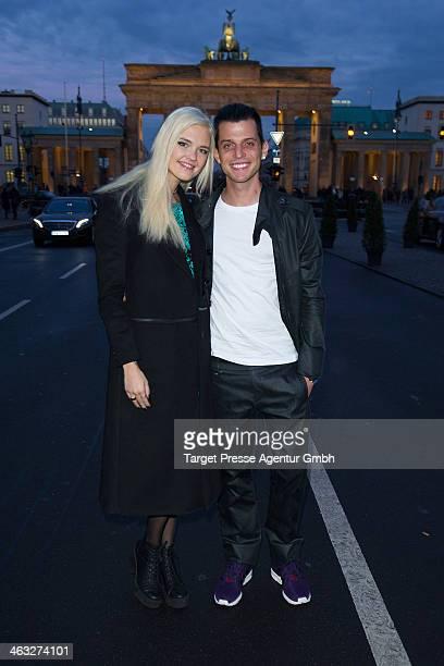 Bonnie Strange and her husband CarlJakob Haupt arrive to the Irene Luft show during MercedesBenz Fashion Week Autumn/Winter 2014/15 at Brandenburg...