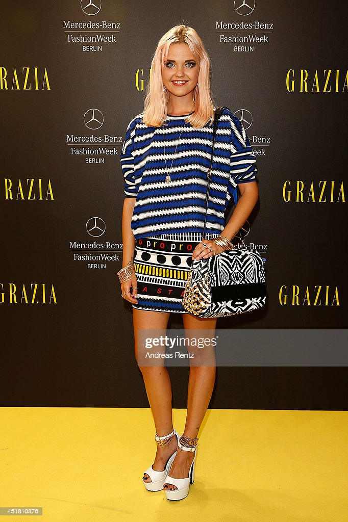 Bonnie Strange arrives for the Opening Night by Grazia fashion show during the Mercedes-Benz Fashion Week Spring/Summer 2015 at Erika Hess Eisstadion on July 7, 2014 in Berlin, Germany.