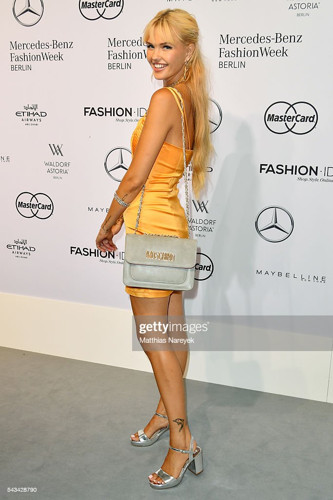 Bonnie Strange attends the Riani show during the Mercedes-Benz Fashion Week Berlin Spring/Summer 2017 at Erika Hess Eisstadion on June 28, 2016 in Berlin, Germany.