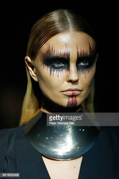Bonnie Strange make up detail walks the runway at the Maybelline Hot Trendsxhibition 2017 show during the MercedesBenz Fashion Week Berlin A/W 2017...
