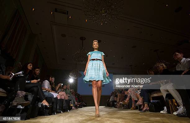Bonnie Strange walks the runway at Sava Nald show during the MercedesBenz Fashion Week Spring/Summer 2015 at Hotel Adlon on July 8 2014 in Berlin...