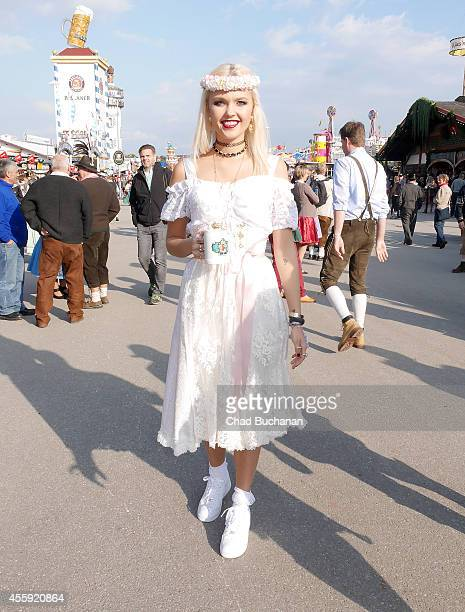 Bonnie Strange wearing a Dirndl by ENA Trachten sighted during Oktoberfest at Theresienwiese on September 22 2014 in Munich Germany