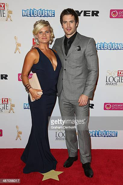 Bonnie Sveen and Kyle Pryor arrive at the 2014 Logie Awards at Crown Palladium on April 27 2014 in Melbourne Australia