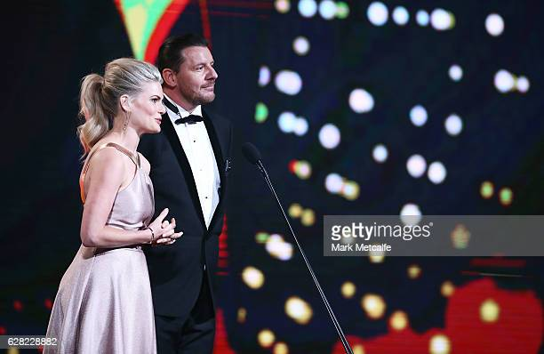 Bonnie Sveen and Manu Feildel during the 6th AACTA Awards Presented by Foxtel at The Star on December 7 2016 in Sydney Australia