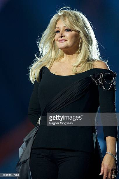 Bonnie Tyler of the United Kingdom performs during a dress rehearsal ahead of the finals of the Eurovision Song Contest 2013 at Malmo Arena on May 17...