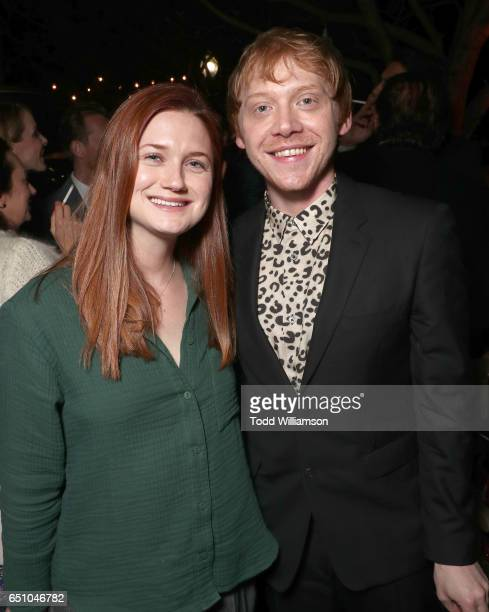 Bonnie Wright and Rupert Grint attend the after party for the premiere screening of Crackle's 'Snatch' at Arclight Cinemas Culver City on March 9...