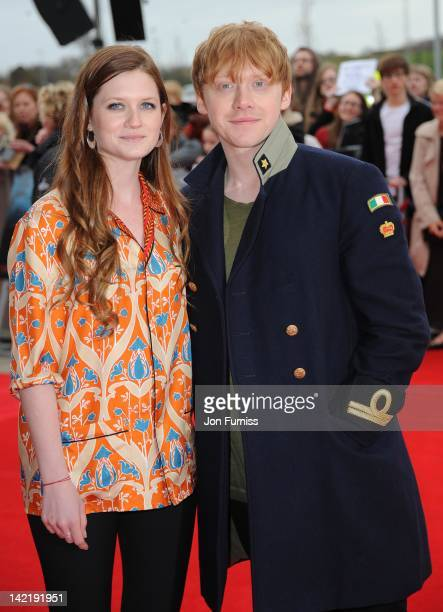 Bonnie Wright and Rupert Grint attend the grand opening of Warner Bros Studio Tour London at Leavesden Studios on March 31 2012 in Watford England