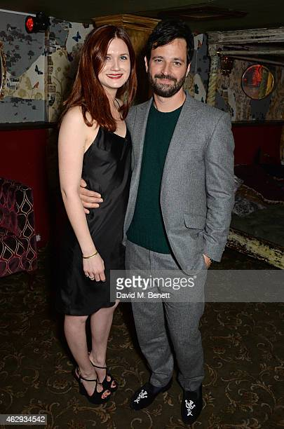 Bonnie Wright and Simon Hammerstein attend The Box 4th Birthday Party in partnership with Belvedere Vodka at The Box on February 7 2015 in London...
