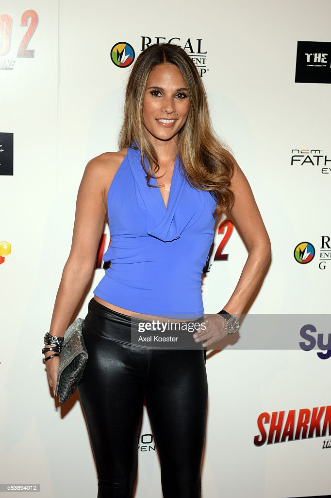 BonnieJill Laflin arrives to the premiere of Sharknado 2 The Second One held at the Regal Cinemas at LA Live Thursday evening