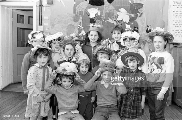 Bonny bonnets youngsters at West Slaithwaite School line up to show off their Easter creations The school held its annual parade and Easter bonnet...