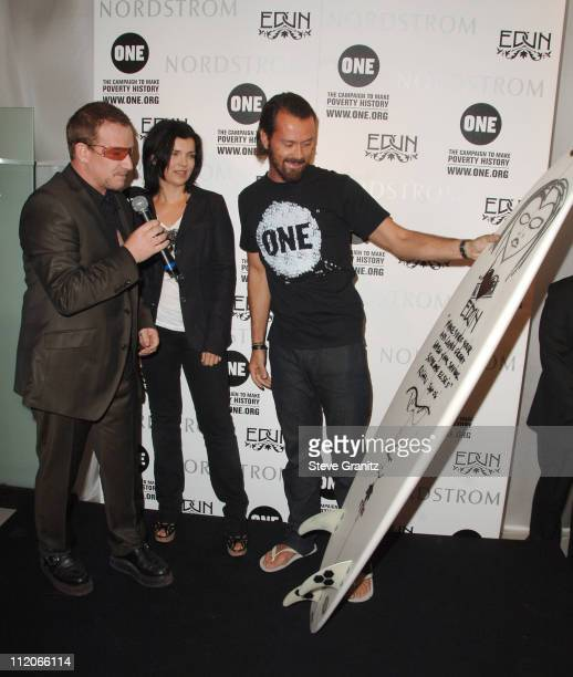 Bono Ali Hewson and Rogan Gregory during Bono Ali Hewson and Rogan Gregory Come Together at Nordstrom to Launch New One Tshirt by Edun September 17...