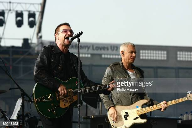 Bono and Adam Clayton from U2 perform at Croke Park on July 24 2009 in Dublin Ireland