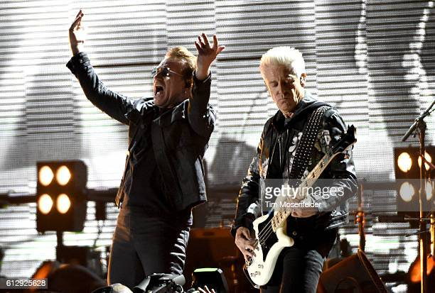 Bono and Adam Clayton of U2 perform during the UCSF Benioff Children's Hospital benefit concert at the Cow Palace on October 5 2016 in San Francisco...