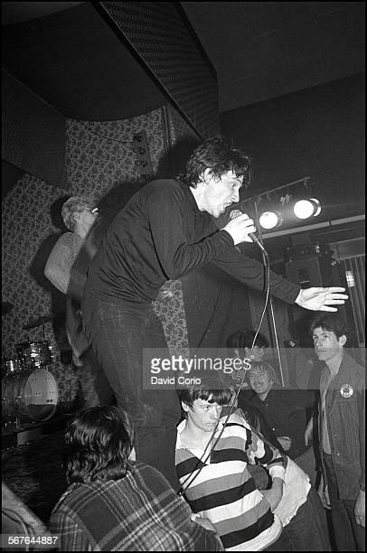 Bono and Adam Clayton of U2 performing at the Garden of Eden club Tullamore Ireland 2 March 1980