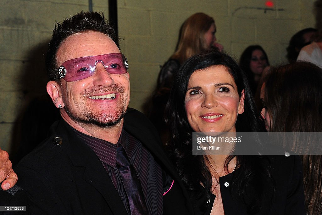 Bono and Alison Hewson attend the Edun Spring 2012 fashion show during Mercedes-Benz Fashion Week at 330 West Street on September 11, 2011 in New York City.