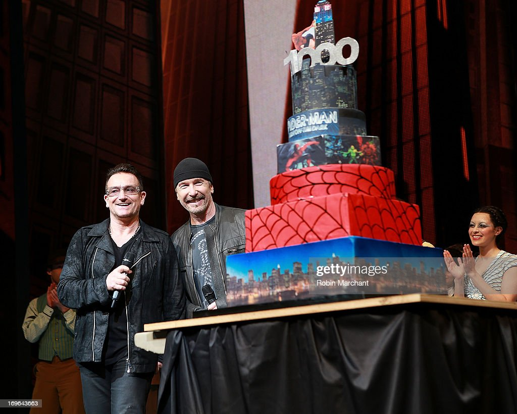 <a gi-track='captionPersonalityLinkClicked' href=/galleries/search?phrase=Bono+-+Singer&family=editorial&specificpeople=167279 ng-click='$event.stopPropagation()'>Bono</a> (L) and David 'The Edge' Howell Evans attend 'SPIDER-MAN Turn Off The Dark' 1000th performance on Broadway celebration at Foxwoods Theater on May 29, 2013 in New York City.