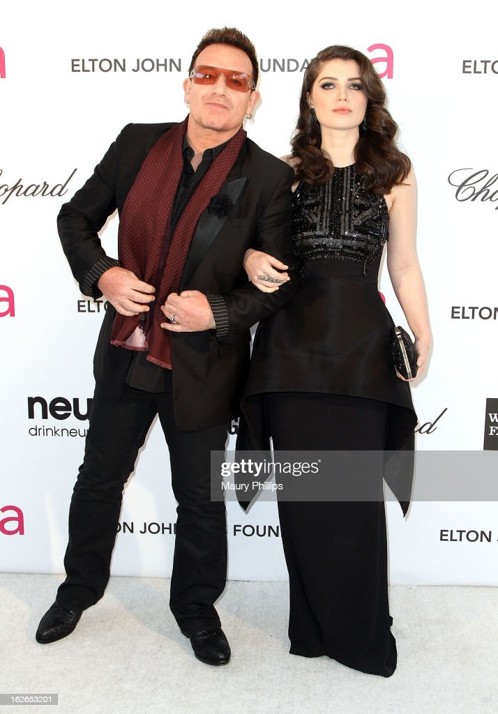 Bono and Eve Hewson arrive at the 21st Annual Elton John AIDS Foundation Academy Awards Viewing Party at Pacific Design Center on February 24, 2013 in West Hollywood, California.