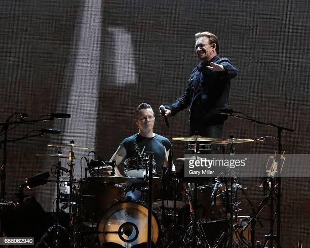 Bono and Larry Mullen Jr of U2 perform on The Joshua Tree Tour at NRG Stadium on May 24 2017 in Houston Texas
