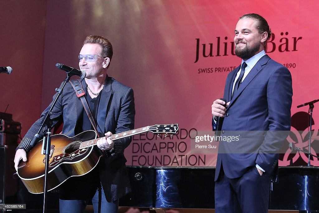 <a gi-track='captionPersonalityLinkClicked' href=/galleries/search?phrase=Bono+-+Singer&family=editorial&specificpeople=167279 ng-click='$event.stopPropagation()'>Bono</a> and Leonardo Dicaprio speak onstage during the Leonardo Dicaprio Foundation Inaugurational Gala at Domaine Bertaud Belieu on July 23, 2014 in Saint-Tropez, France.