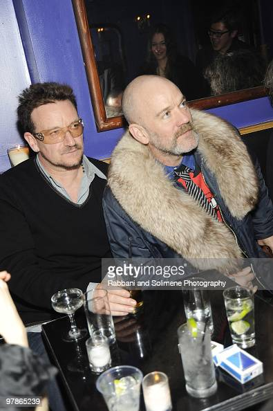 Bono and Michael Stipe attend the Rodarte Fall 2010 after party during MercedesBenz Fashion Week at Black Market on February 16 2010 in New York City