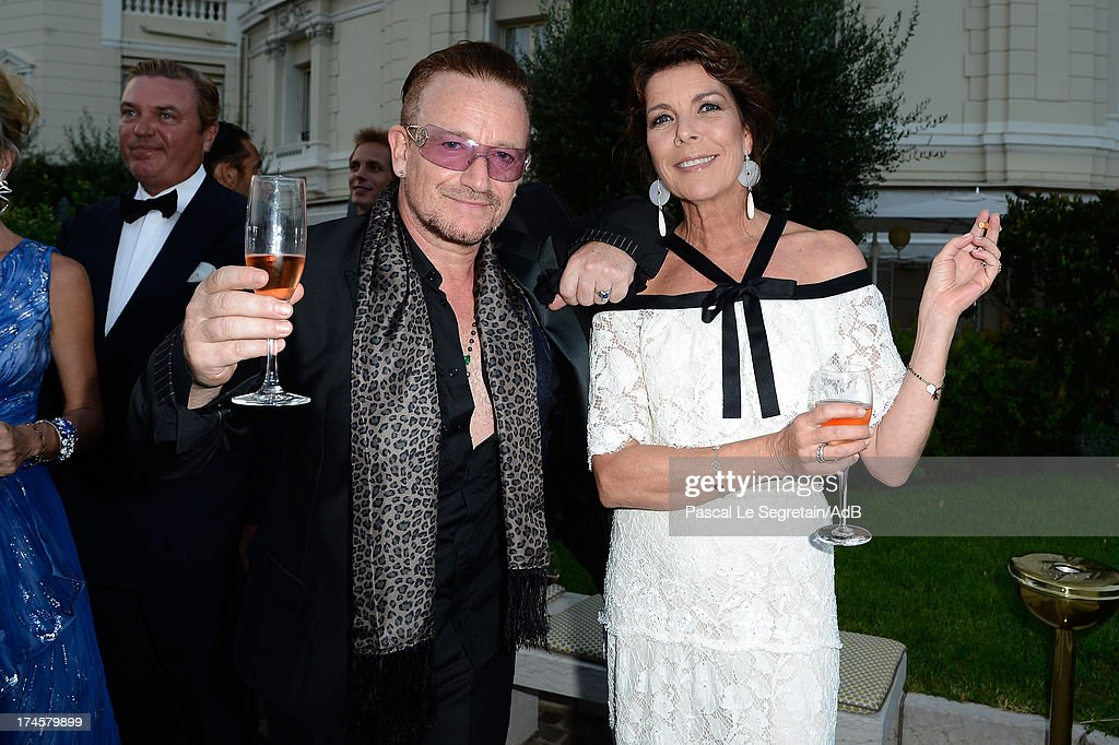 <a gi-track='captionPersonalityLinkClicked' href=/galleries/search?phrase=Bono+-+Singer&family=editorial&specificpeople=167279 ng-click='$event.stopPropagation()'>Bono</a> and Princess Caroline of Hanover attend the cocktail at the 'Love Ball' hosted by Natalia Vodianova in support of The Naked Heart Foundation at Opera Garnier on July 27, 2013 in Monaco, Monaco.