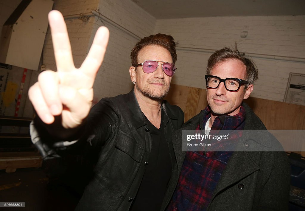 Bono and Spike Jonze pose backstage as he visits 'Eclipsed' To launch a dedications series in honor of abducted Chibok Girls of Northern Nigeriaon at The Golden Theatre on April 30, 2016 in New York, New York.