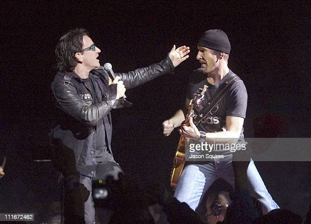 Bono and The Edge of U2 during U2 Performs Live in Kansas City on November 27 2001 at Kemper Arena in Kansas City Missouri United States