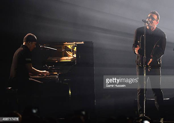 Bono and The Edge of U2 perform on stage during the MTV EMA's 2014 at The Hydro on November 9 2014 in Glasgow Scotland